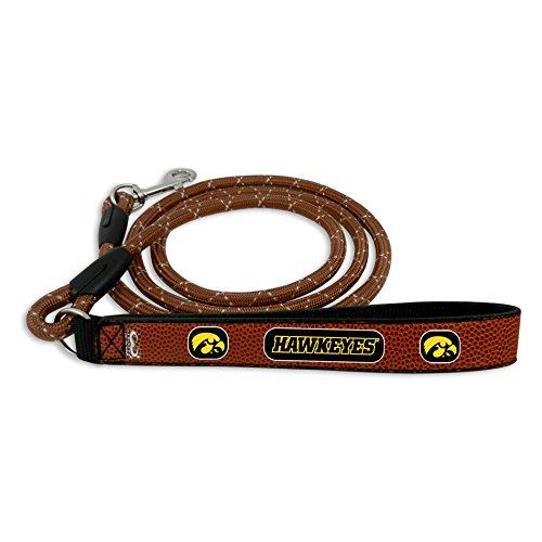 GameWear NCAA Iowa Hawkeyes Football Leather Rope Leash, Large, Brown (Iowa Football Brown Hawkeyes)