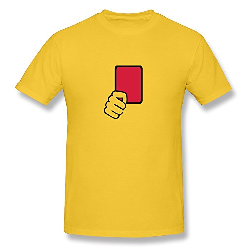 Men Red Card Referee Tshirts,Yellow T-shirts By HGiorgis XS Yellow ()