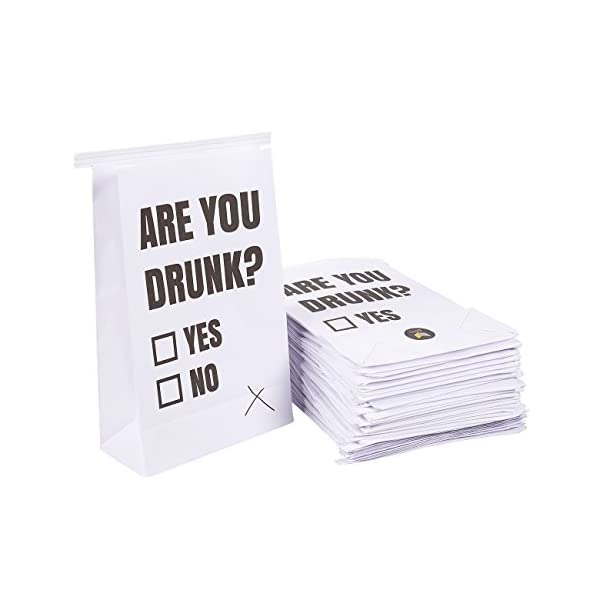 Vomit Bags   50 Pack Disposable Paper Barf Bags   Are You Drunk Funny Black & White Printed Design White Throw Up Bags For Motion Sickness, Hangovers, Car Sickness, 6 X 9.7 X 2.6 Inches