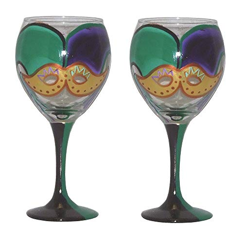 Set of 2 Balloon Wine Glasses in Mardi Gras Design with Traditional Mardi Gras Colors. Hand Painted.