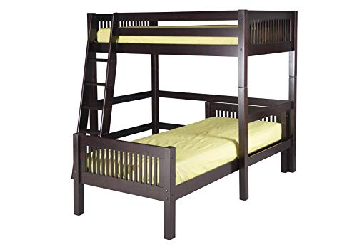 (Camaflexi Mission Style Solid Wood L-Shaped Loft Bed, Twin-Over-Twin, Side Angled Ladder, Cappuccino)