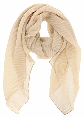 Ribbed Texture Ruched Pleated Glitter Accented Long Scarf Wrap-Beige