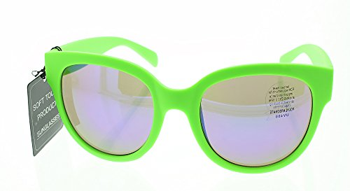 Women's Cat Eye Sunglasses Shades - 100% UV 400 Sun Protection - Impact Resistant Polycarbonate Lenses - Lime Green Frame - Tinted - Bright Green Sunglasses