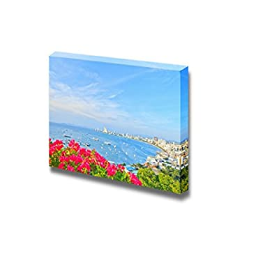 A Bird's View Over The Beach of Pattaya City in Chonburi Evening and Front Flower Thailand - Canvas Art Wall Art - 16