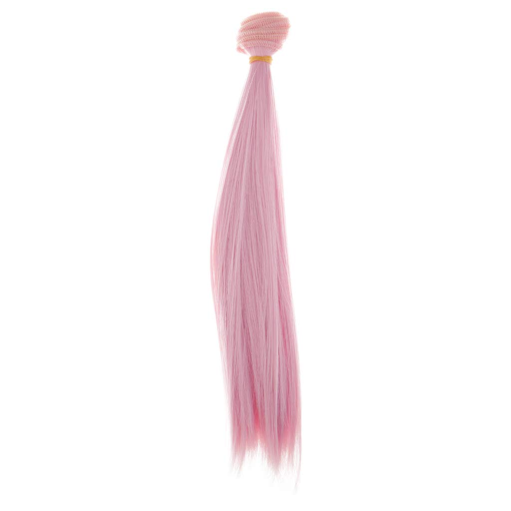 DIY Craft Hair Bulk Wigs for Dollfie Bjd Doll Handmade Hair Fashion Doll Straight Wigs Hairpiece DYNWAVE High Temperature Wire Hair Wigs Pink