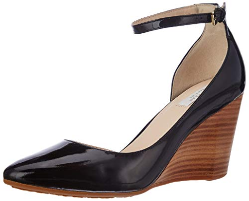 Cole Haan Women's Sadie Ankle Strap Wedge 85MM Platform, Black Patent, 6 B US ()