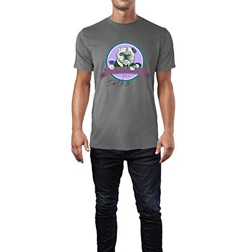 SINUS ART® Bulldogge mit Glas Real Gentleman 100% Herren T-Shirts in Grau Charocoal Fun Shirt mit tollen Aufdruck