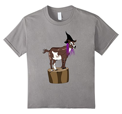 Kids Goat Halloween Costume Witch Hat with Purple Wig T-shirt 12 (Child Witch Hat With Wig)
