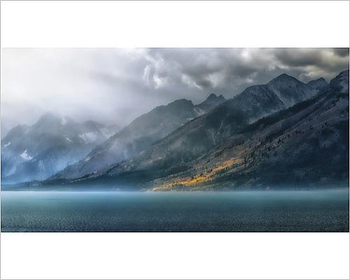 Media Storehouse 10x8 Print of Jenny Lake Sun Rays Grand Teton National Park - Grand Lake Jenny