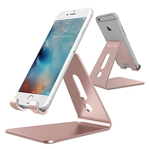 (OMOTON [Updated Solid Version] Desktop Cell Phone Stand Tablet Stand, Advanced 4mm Thickness Aluminum Stand Holder for Mobile Phone and Tablet (Up to 10.1 inch), Rose Gold)