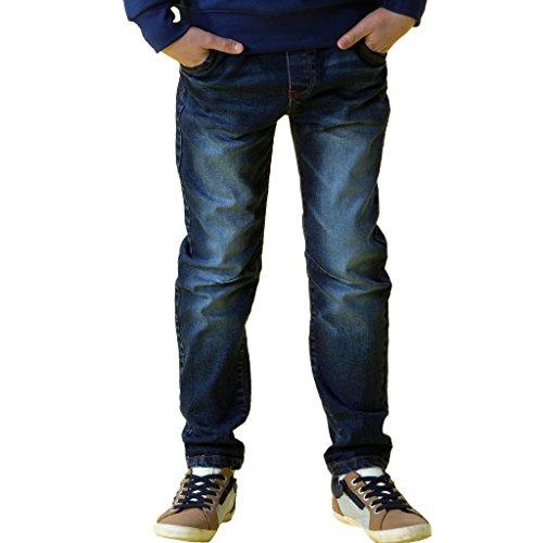 Boys Denim Pant (Leo&Lily Big Boys' Kids' Husky Waist Stretch Denim Jeans Trousers Pant 14 Navy)
