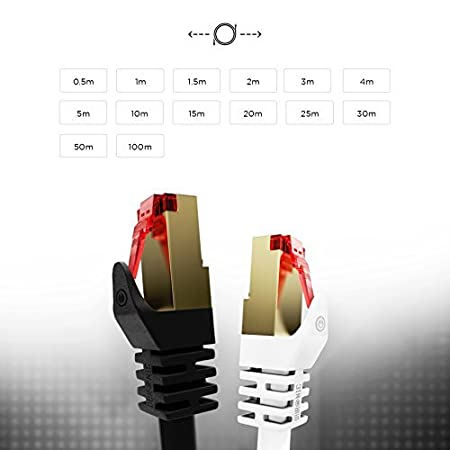 Duronic WE 25m // 82 feet Network Cable CAT6a Ethernet LAN Patch Cat 6 A RJ45 Wire Gigabit FTP Gold Headed Shielded High Speed 600MHz Premium Quality White Modem Router