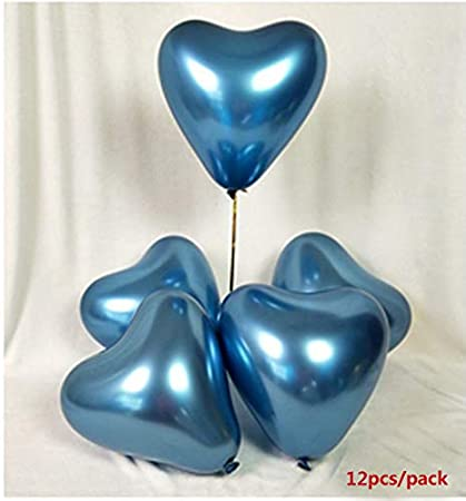 12 inch Metallic Heart Latex Balloon Valentine Day Silver Balloon Wedding Room Decoration 12pcs//Pack