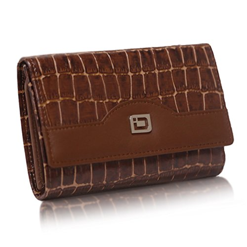 Ladies Compact RFID Designer Leather Trifold - RFID Wallets for Women - Top Quality Leather (Brown Croc)
