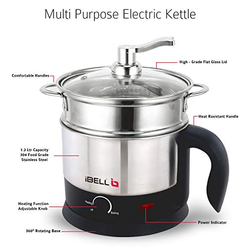 iBELL MPK120L Stainless Steel Multi Purpose Kettle/Cooker