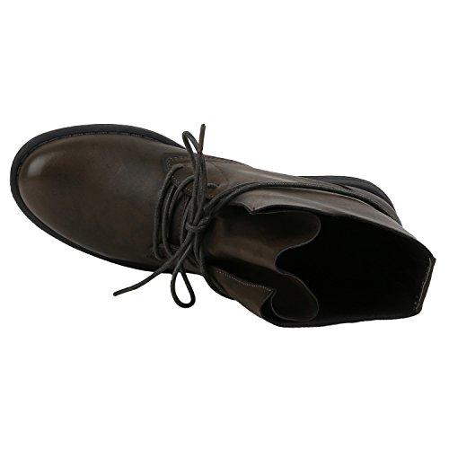 Damen Schnürstiefeletten Stiefeletten Übergrößen Denim Schuhe Prints Leder-Optik Schuhe Spitze Modische Boots Zipper Jennika Dunkelgrün Basic