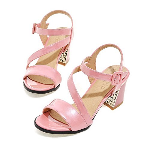 Allhqfashion Women's Open Toe Kitten-Heels Patent Leather Solid Buckle Sandals Pink Cafaw0w7T