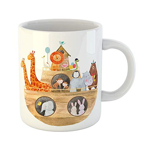 Emvency Coffee Tea Mug Gift 11 Ounces Funny Ceramic Children Watercolor of Cute Noah Ark the Animals Holiday for Baptism Ship Gifts For Family Friends Coworkers Boss Mug