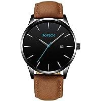 Men's Analog Fashion Quartz Watch Business Watches Mens Sport Waterproof Wrist Watch for Men with Leather Strap Calendar Date Brown