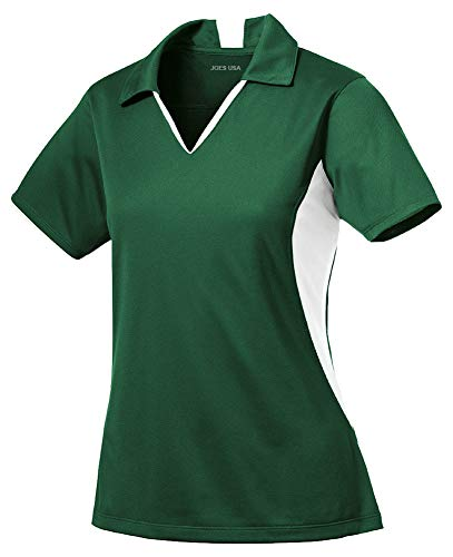Joe's USA - Ladies Moisture Wicking 2 Tone Micropique Golf Polos-M Forest - Ladies White Green