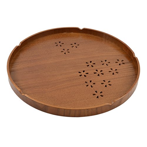 uxcell Wood Round Cherry Hollow-out Pattern Tea Coffee Serving Tray (Cherry Round Wood)
