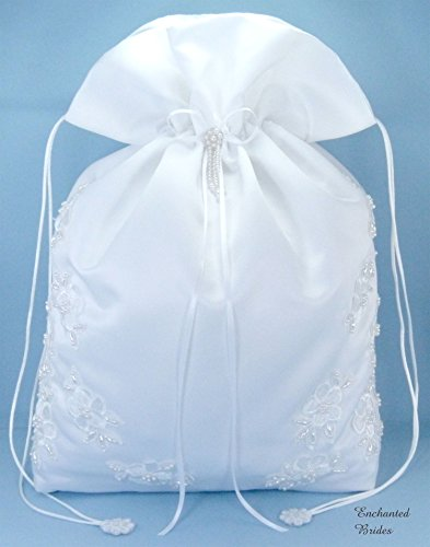 - Satin Bridal Wedding Money Bag (#E1D4MBwh) in Large Size with Pearl-Embellished Floral Lace for Receiving Envelops, Dollar Dance, Bridal Purse, and Other Special Occasions