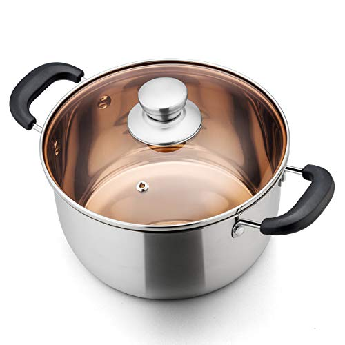 (TeamFar Stock Pot 4qt, Stainless Steel Stockpot Soup Pasta Pot with Lid, Double Heatproof Handles, Non Toxic & Healthy, Easy Clean & Dishwasher Safe)