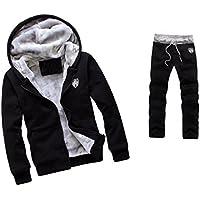 WM&MW Mens Tracksuit Warm Fleece Sport Zipper Hooded Sweatshirt Coat Hoodies+ Gym Sweat Pants