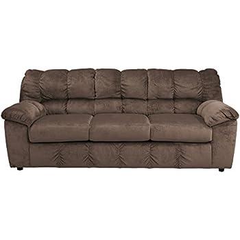 Ashley Furniture Signature Design - Julson Contemporary Sofa - 3 Seats - Puckered Stitching - Café