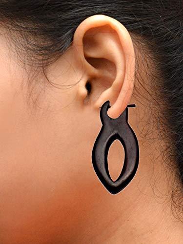 (Krishna Mart India a Pair of African Tribal Ebony Organic Wood Drop Big for Women Girls Ethnic Wooden Earrings Dangle Stick Fashion Jewelry Hippie Boho Gypsy Coconut Loco Fake Sew_98)