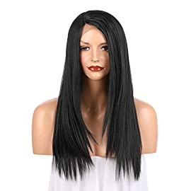 OneDor 24 Inch Kanekalon Fiber Straight Lace Front Wig – Glueless Side Part Dark Root Wigs for Women (1B# – Black)