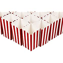 Set of 100 Popcorn Favor Boxes - Mini Paper Popcorn Bags and Snack Containers, Carnival Party Supplies for Movie Night, Movie Theme Party, Red and White, 3.3 x 5.6 x 3.3 Inches