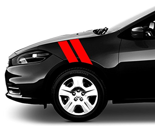 4 Inch Fender Hash Bars Vinyl Racing Stripes Decal, Fits Dodge Dart, Driver Side, Red