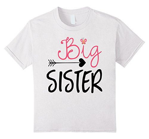 Kids Big Sister T-Shirt - Big Sister Arrow and Butterfly Shirt 12 White