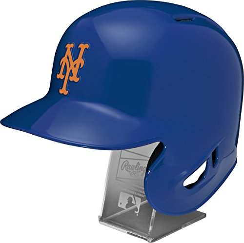 Rawlings MLB New York Mets Replica Batting Helmet with Engraved Stand, Official Size, Blue
