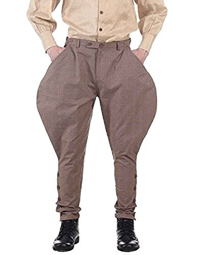 (ThePirateDressing Steampunk Victorian Cosplay Costume Mens Archibald Jodhpur 100% Cotton Pants Trousers C1326 (Brown Check))
