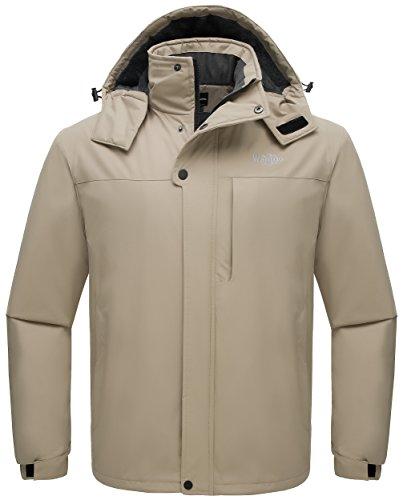 Wantdo Men's Skiing Jacket Mountaineer Insulated Outdoor Camping Coat Khaki M