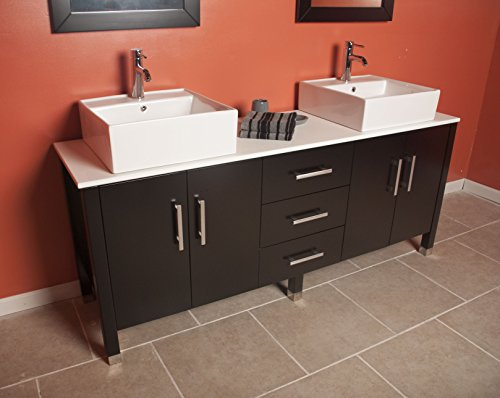 71 Inch Espresso Wood & Porcelain Double Vessel Sink Bathroom Vanity Set- ''Pulaski'' (Chrome Faucets) by The Tub Connection
