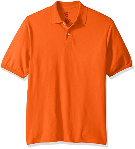 Jerzees Men's Spot Shield Short Sleeve Polo Sport Shirt, Burnt Orange, Large