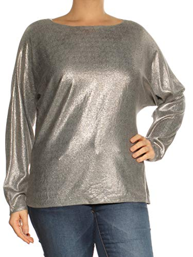 (LAUREN RALPH LAUREN Womens Metallic Sparkly Sweater Silver L)