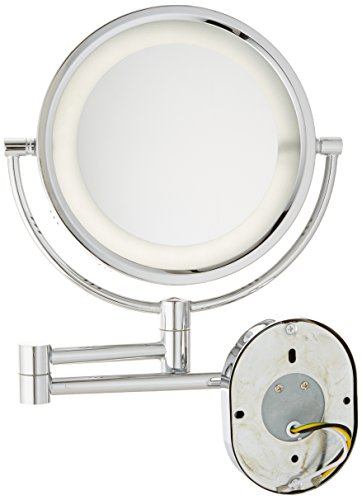 Jerdon HL65CD 8-Inch Lighted Direct Wire Wall Mount Makeup Mirror with 5x Magnification, Chrome Finish by Jerdon (Image #3)