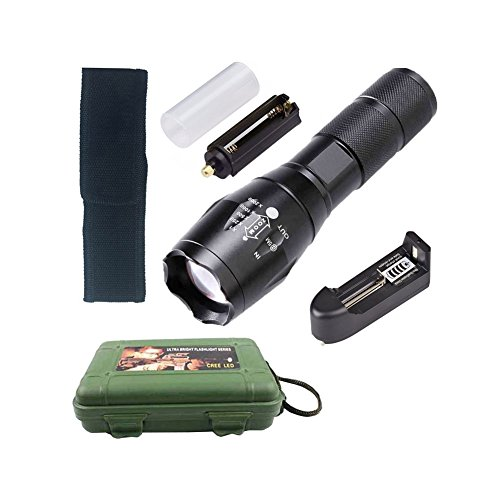 Vimbuy Portable T6 LED Tactical Flashlight Zoomable Adjustable Focus 5 Modes Torch Set with Charger & Gift Case by Vimbuy