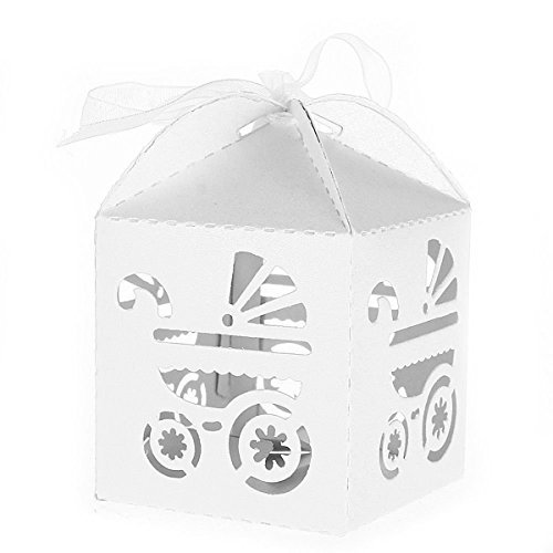 (OULII Favor Candy Sweets Gift Boxes Baby Shower Wedding Party Favors, Carriage Pattern, Pack of 50, White)
