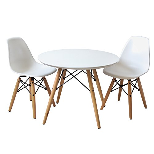 Buschman Set Of Table And 2 White Kids Eames Style Retro