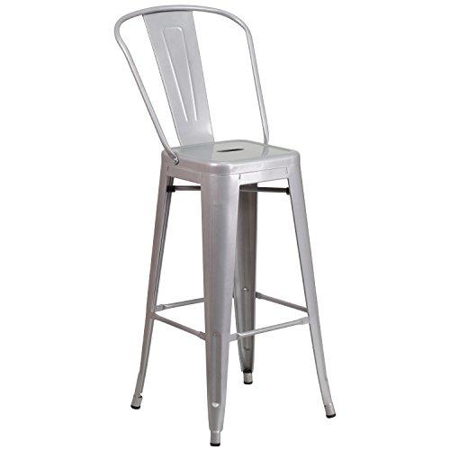 Flash Furniture 30'' High Silver Metal Indoor-Outdoor