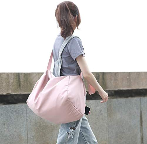 ポータブル大容量の荷物バッグ防水スポーツジムバッグ折り畳み式のデザイン頑丈で快適なソフトで快適なブラック、グレー、ピンク HMMSP (Color : Pink)