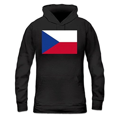 Sudadera con capucha de mujer Czechia Flag by Shirtcity Negro