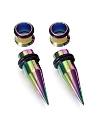D.Bella 14G-00G Ear Gauges Tapers and Tunnels Gauge Stretching Kit O-Rings Included 316L Stainless Steel Gauging Plugs