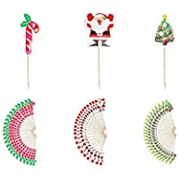 Festive Party Christmas Cocktail Stick Toppers - Candy / Santa / Tree (75 Pack)
