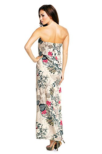 Mia Suri - Vestido - Sin mangas - para mujer, Beige Floral and Leaves, 46